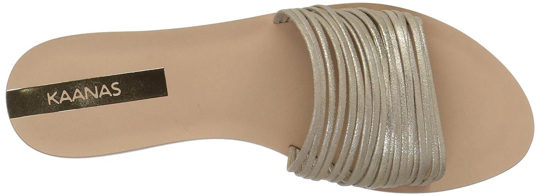 KAANAS Women's Guanabara Multi Strap Slide Leather Flat Sandal B079MZPMS6 7 B(M) US Gold