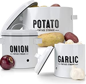 Aesthetic Farmhouse Kitchen Storage Canister Set of 3 - Keeps Potatoes, Onions and Garlic Fresh and Tasty