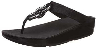 19654eacc0f0f9 FitFlop Women s Superchain Leather Toe-Thong Sandals Flip Flop Black 5 ...