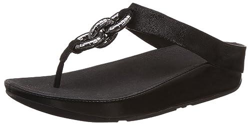FitflopSuperchain Leather Toe-Post - Sandali a Punta Aperta Donna, Nero  (Black)
