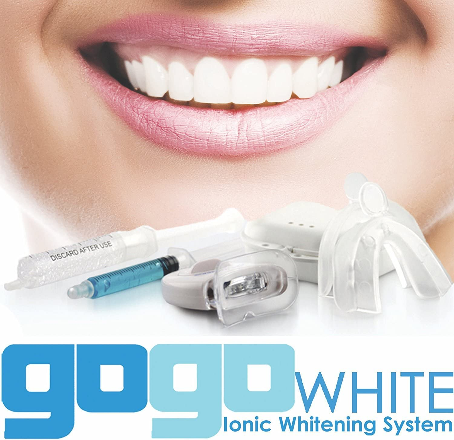 Amazon Com Premium Teeth Whitening Kit By Gogo White Teeth Whitening Dental Grade Whitening Gel Made In Usa In Large 10cc Syringe Custom Teeth Bleaching Trays Powerful Blue Light Best Tooth Whitener Health