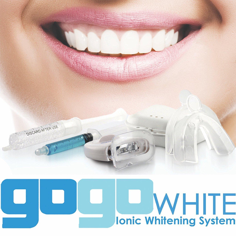 Premium Teeth Whitening Kit by GOGO White Teeth Whitening, Dental Grade Whitening Gel Made in USA in Large 10cc Syringe, Custom Teeth Bleaching Trays, Powerful Blue Light, Best Tooth Whitener by GOGO White Teeth Whitening (Image #1)