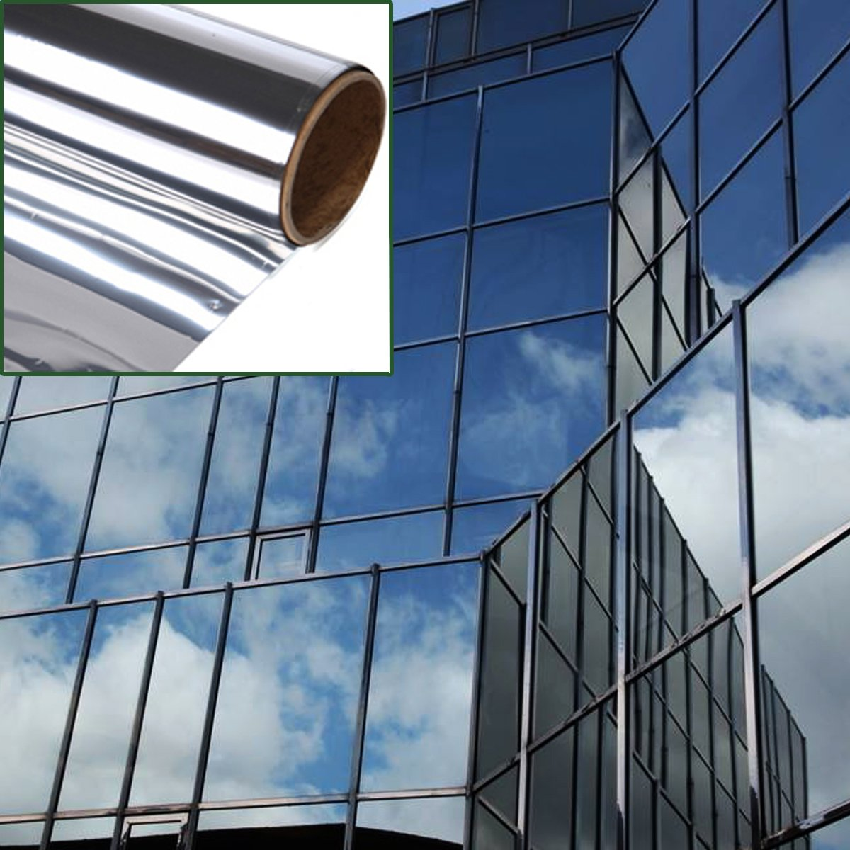 Silver Aissimio Silver Solar Reflective Window Film Paper Insulation Stickers One Way Mirror 60cm*1.8m
