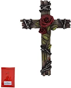 Incluso Rose with Thorns Wood Look 10 inch Wall Cross for Home Decoration and Great for Gifts and Hanging Hardware Bundle