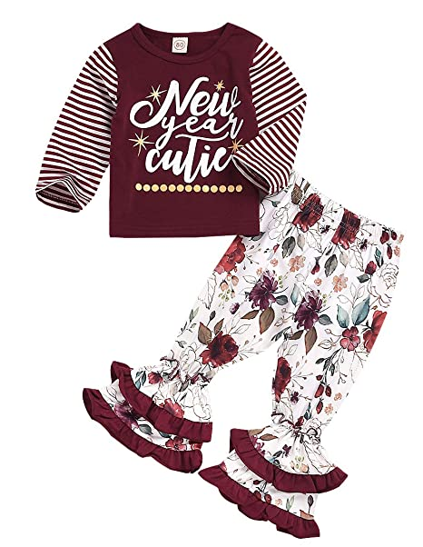 3cee1cd9f New Year Outfit Toddler Baby Girls Long Sleeve Shirt Tunic Top Ruffle Pant  Holiday Novelty Clothes