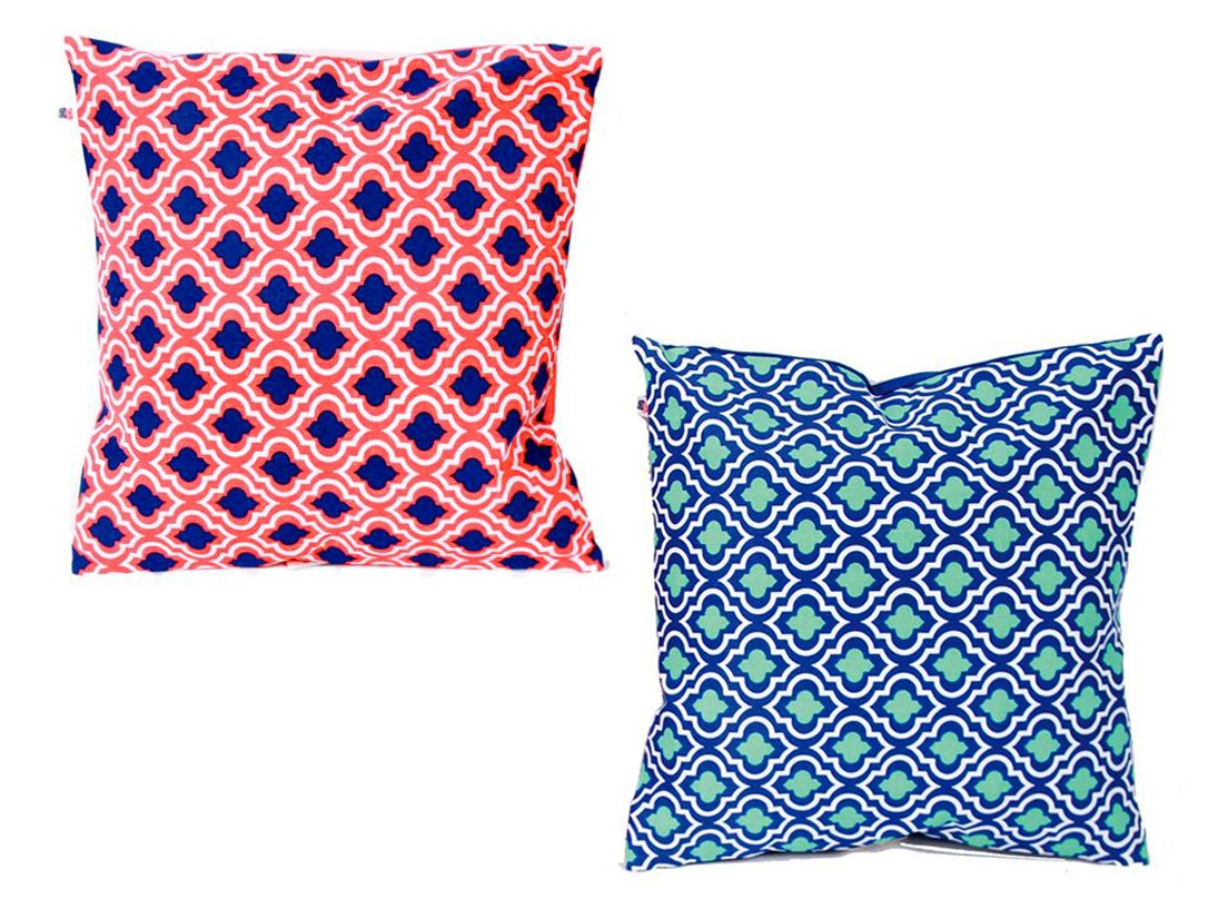 Everyday Style 2 Moroccan Pattern 16-inch Decorative Pillow Set (1-Navy & 1-Orange) by Dennis East