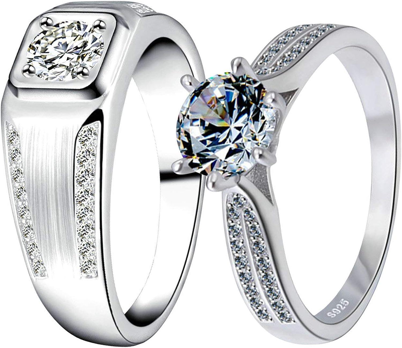 Daesar 925 Sterling Silver Rings Men Punk Ring Men Rings Fashion Polishing Silver Ring Round Men Ring Size 8-12.5