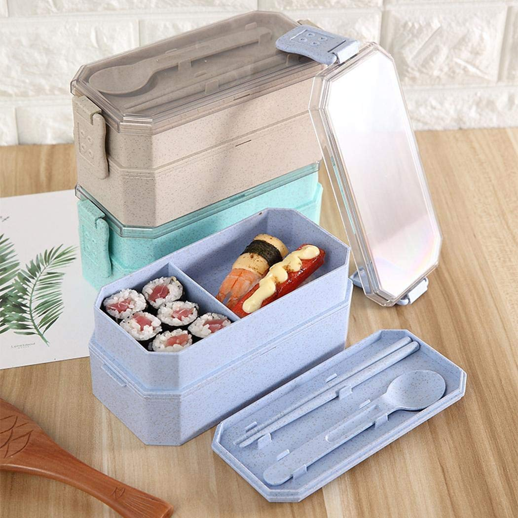 UpBeauty Cute Lunch Box Double Layer Food Box Kids Portable Picnic School Container Box Lunch Boxes