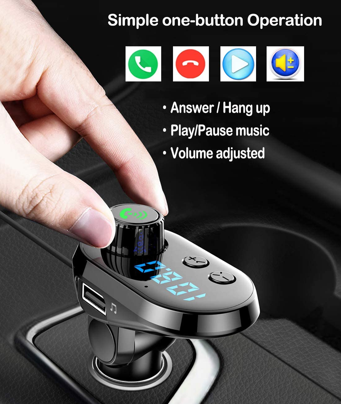 Support TF Card Slot USB Flash Drive and Handsfree Calling,with Lighting//Mirco//Type C Charging Port Bluetooth FM Transmitter for Car Sliver-B Wireless Radio Adapter Car Kit with Fast Charger 3.1A