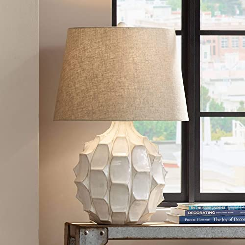 Grandview Gallery 29 Brushed Nickel Metal Table Lamp Set with Hourglass Body Design and White Textured Linen Tapered Drum Shades – Modern Lighting for Any Room Set of 2