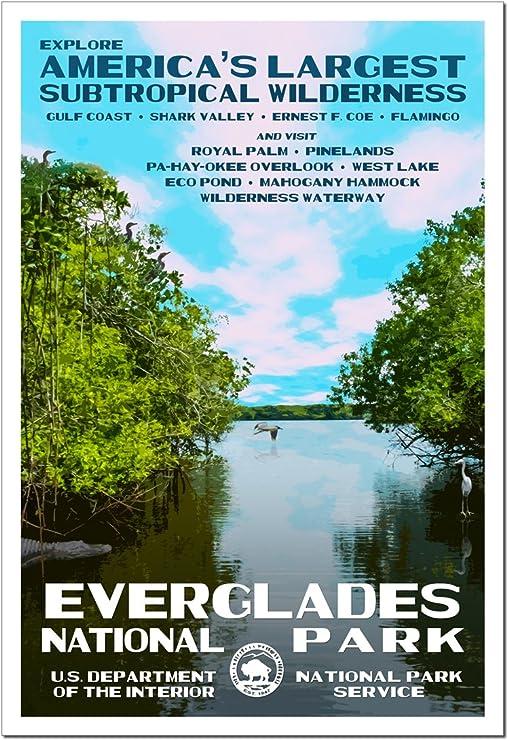 "Everglades National Park Service WPA Florida Ranger Art Print Poster 18/"" x 24/"""