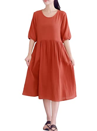 Lifeshow Womens Summer Cotton Linen Short Sleeves Dress With