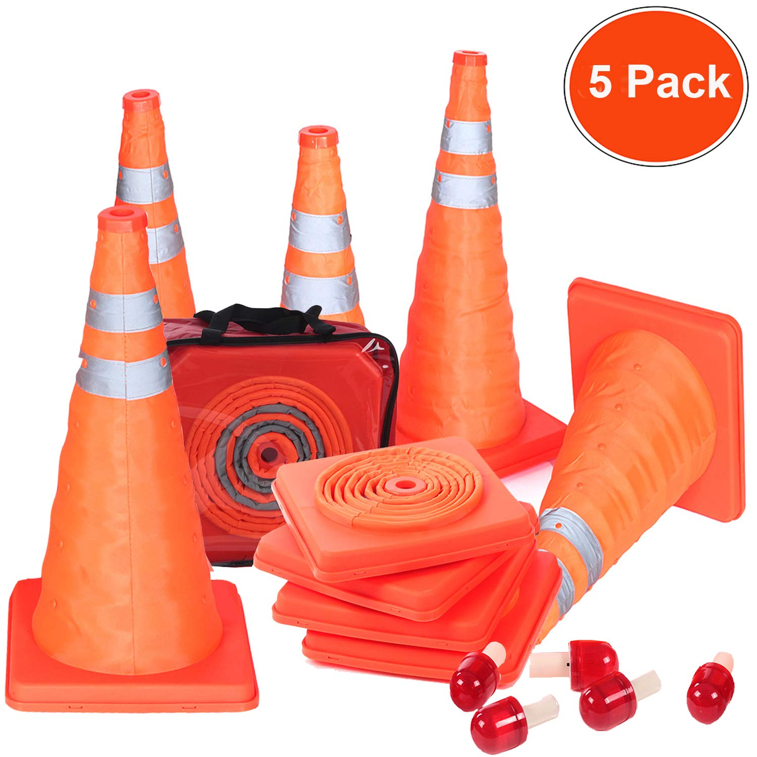 Reliancer 5PCS 18''Collapsible Traffic Cones with Nighttime LED Lights Pop up Safety Road Parking Cones Weighted Hazard Cones Construction Cones Fluorescent Orange w/2 Reflective Silver Strips Collar
