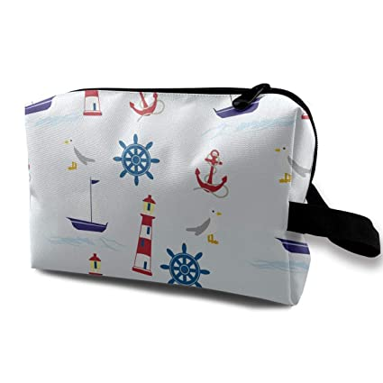 aa0a02e8d457 Amazon.com: Liangxiangru Lighthouse Sailboat and Pulp Cosmetic Bag ...