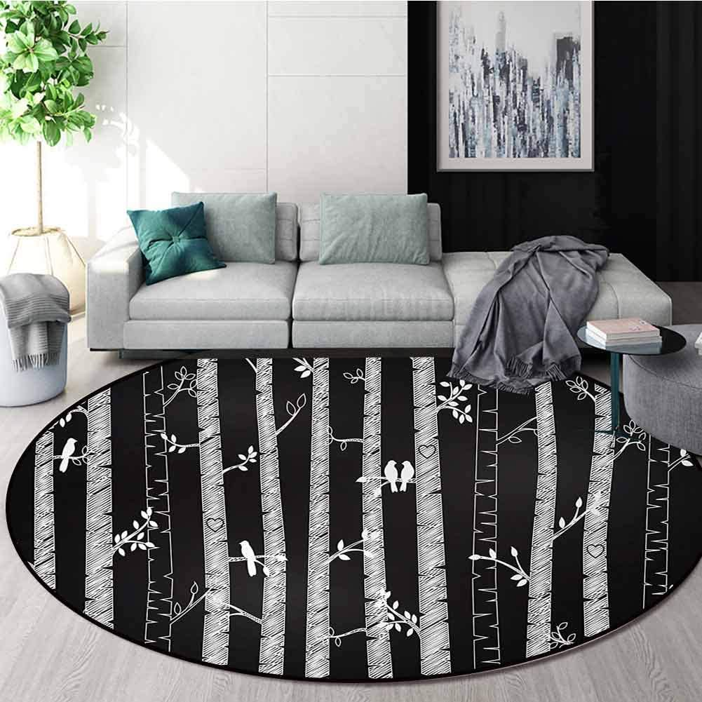 Black And White Round Area Rug Sketch Style Jungle With Long Tree Trunks And Birds Autumn Nature Doodle Design Non Slip Fabric Round Rugs For Floor Mat Carpet Diameter 24 Inch Black White Home
