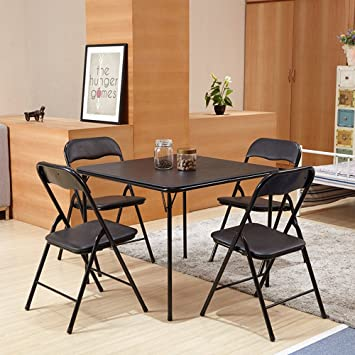 FurnitureR 5 Pcs Folding Dining Table Chairs Set Metal Frame Kitchen Dining  Set Black