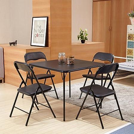 FurnitureR 5 Pcs Folding Dining Table And Chairs Set Metal Frame Kitchen Black