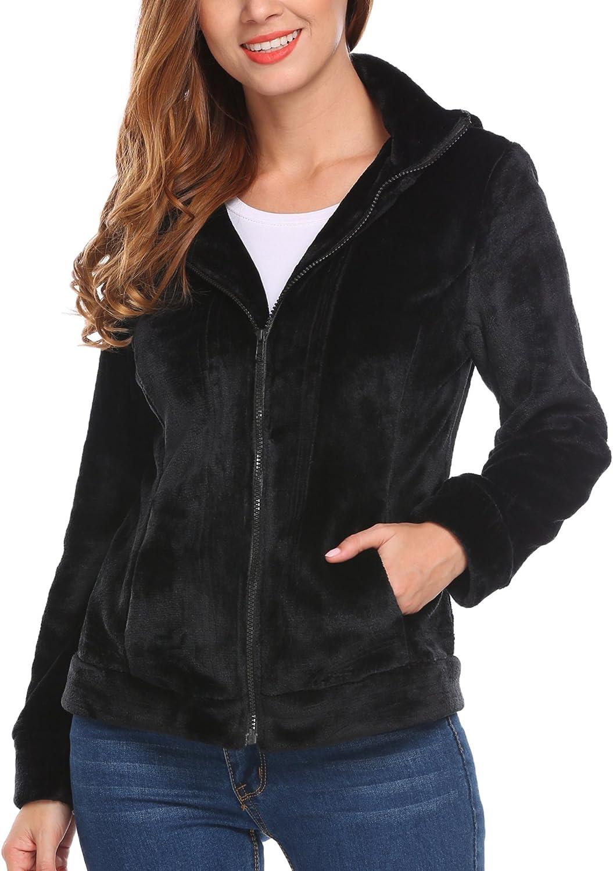 Meaneor/Damen Teddy-Fleece Mantel weicher Jacke mit hohem Kragen Kapuzen Baggy Parka Jacke Coat Herbst Winter/Fr/ühling