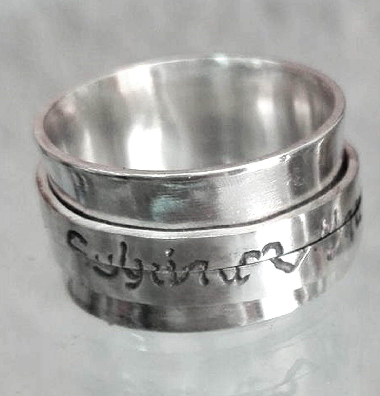 Anello facia dargento Anello girevole anello filatore con codice segreto e testo personalizzato.