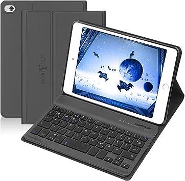 BORIYUAN Funda con teclado Bluetooth para iPad Mini 1 Mini 2 Mini 3, funda de piel sintética con teclado inalámbrico Bluetooth desmontable (QWERTZ) ...