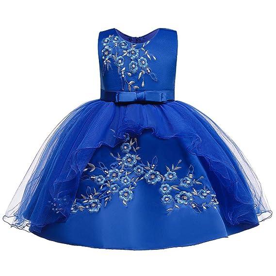 Fossen Kids Vestidos Princesa Niña de Malla con Arco Bordado ...