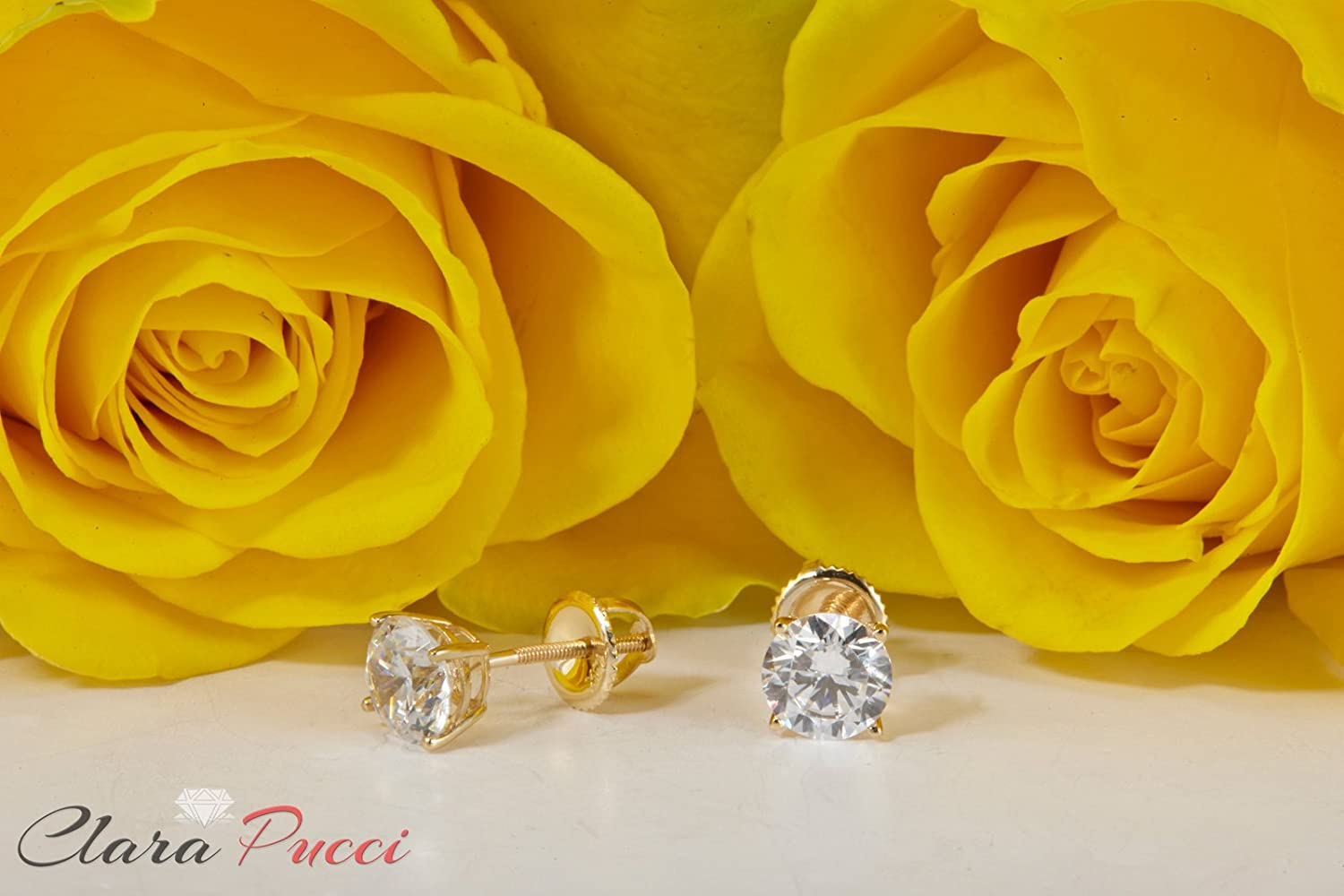 2.20 CT Round Brilliant Cut Simulated Diamond Solitaire Stud Earrings in 14k Yellow Gold Screw Back Clara Pucci CP|B4EAR|2