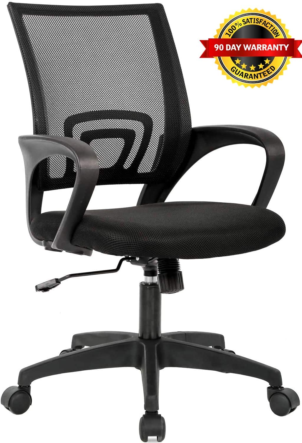 LIONROAR Office Chair Computer Chair Task Chair with Lumbar Support Armrest Breathable Mesh Back Adjustable Ergonomic Office Chair (Black)