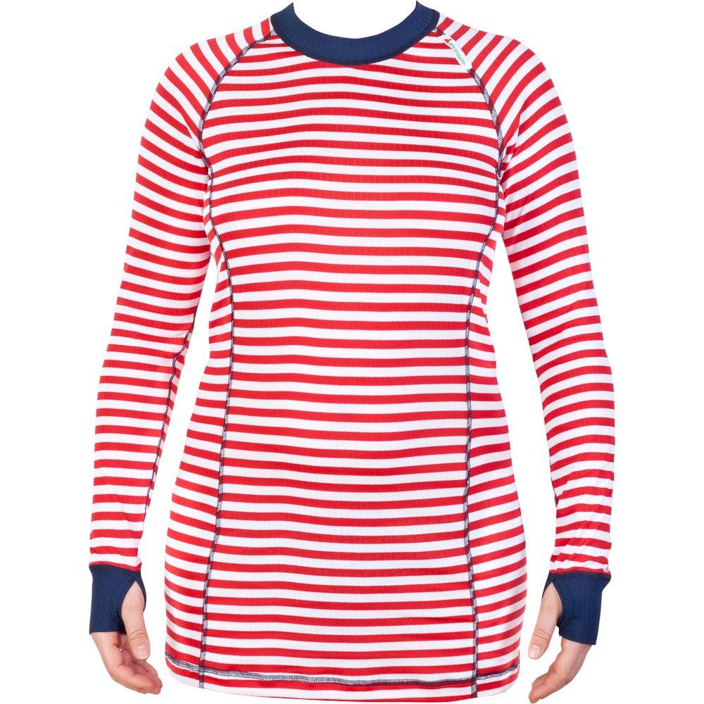 Striped Shirt rot weiß DamenLangarmshirt Sionyx Funktionsunterwäsche Thermowäsche für Sport und Freizeit Snowboard Skifahren Langlaufen Radfahren Funktionsshirt