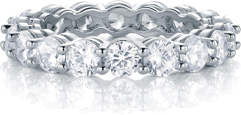 GEMSME 18K White Gold Filled Cubic Zirconia Eternity Band Ring for Women