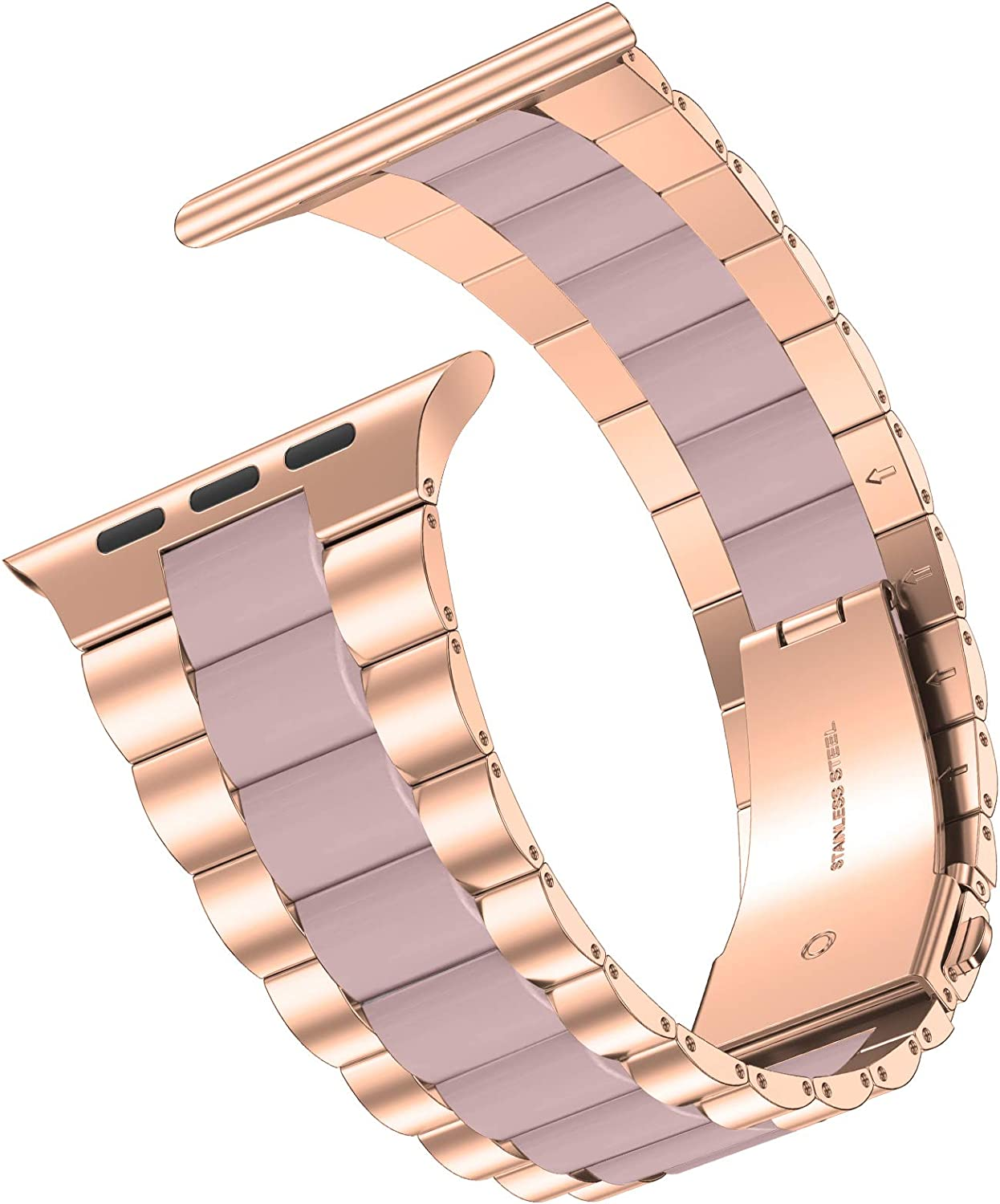 iiteeology Compatible with Apple Watch Band 40mm 38mm, Resin Stainless Steel Metal Link Wristbands for iWatch SE Series 6 5 4 3 2 1 - Rose Gold+Pink