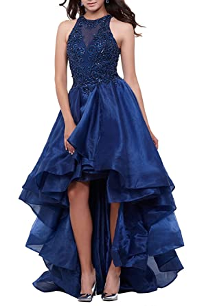 High Low Beaded Prom Dress Long High Neck Poofy Organza Homecoming Party Gowns Navy Blue SIize