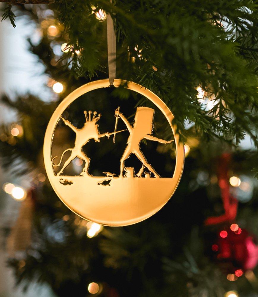 Valerie Atkisson Nutcracker Rat King and Nutcracker Ballet Christmas Ornament, 24K Gold Plated