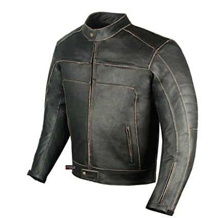 Mens Vintage Motorcycle Cruiser Armor Ventilated Leather Touring Biker Jacket