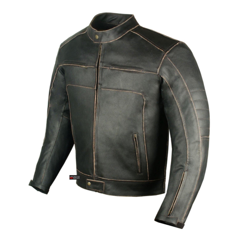 Men's Vintage Motorcycle Cruiser Armor Ventilated Leather Touring Biker Jacket