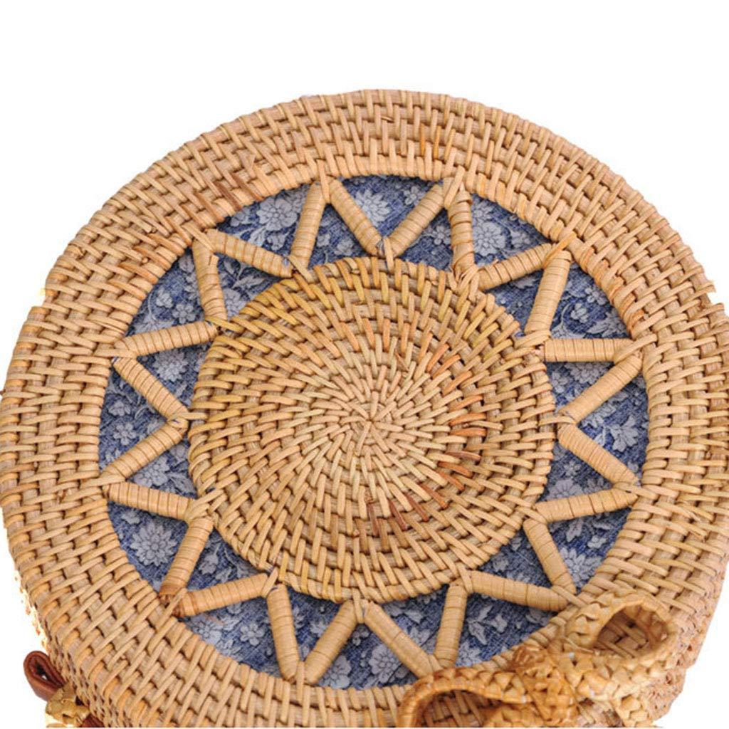 BHM Women's Bag, Rattan Bag - Hollow Sun Flower Slung Travel Bag - Beach Bag - Straw Bag - Hand-Woven Bag,B