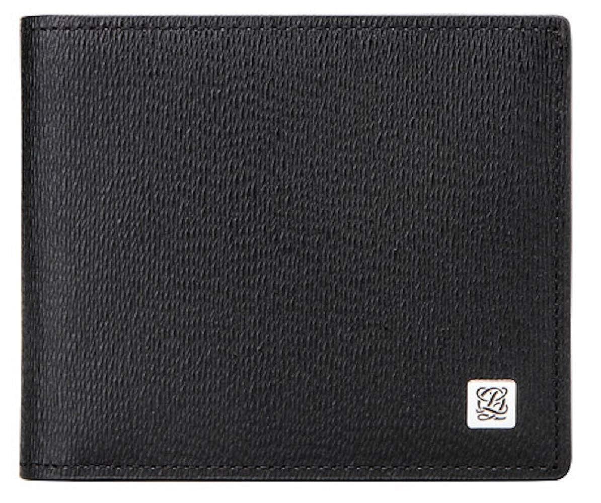 LQ LOUIS QUATORZE Mens Cow Leather Bifold Wallet Black SJ1AH03BL