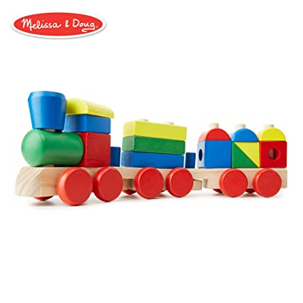 Melissa Doug Stacking Train Classic Wooden Toddler Toy 18 Pieces