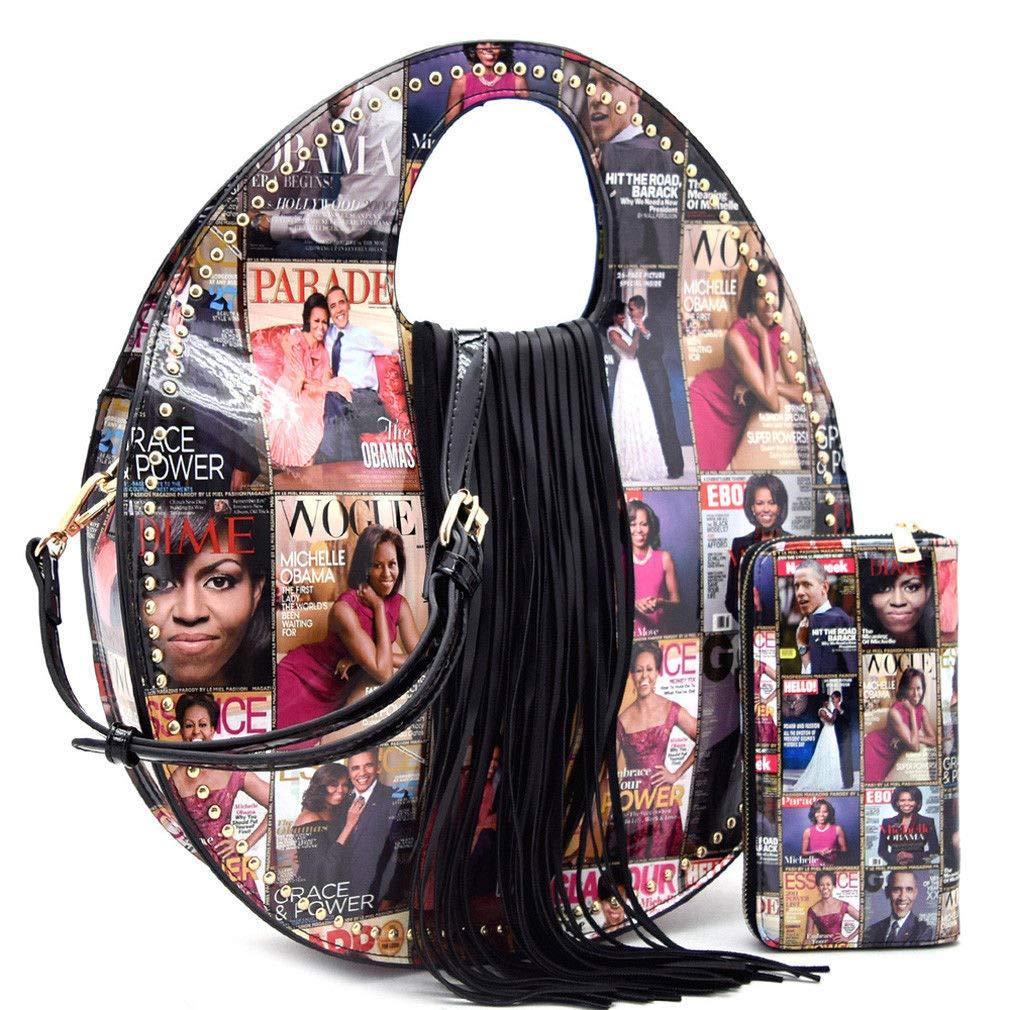 Multi Obama Magazine Print Collection Round Fringe Satchel w Strap + Wallet