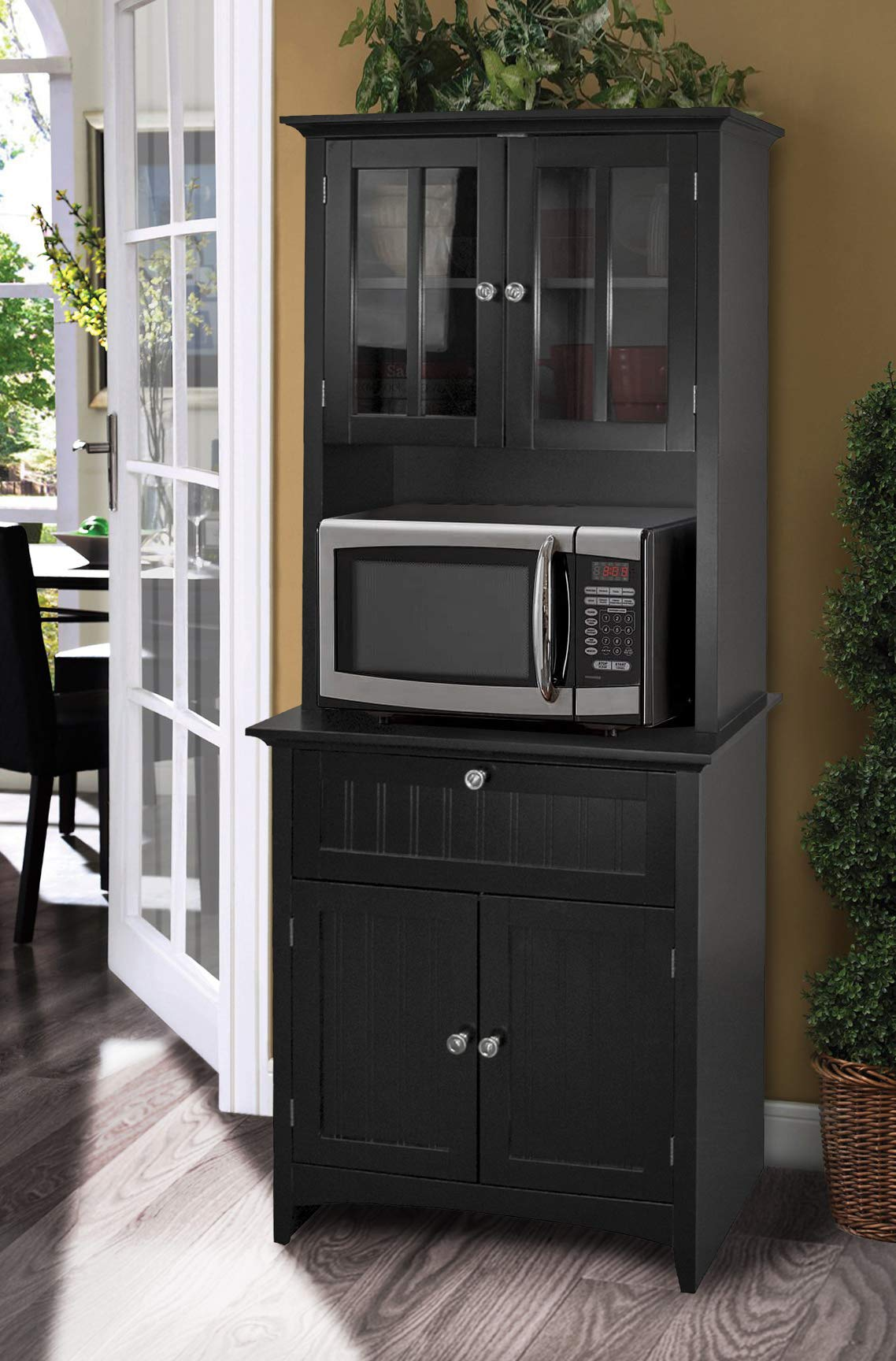 OS Home and Office Framed Glass Doors and Drawer in Black kitchen buffet with hutch by OS Home and Office
