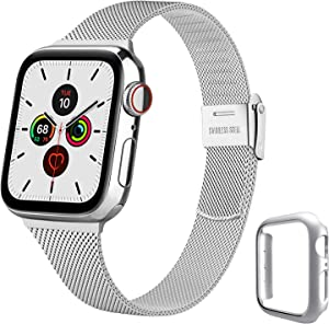 YILED Slim Bands Compatible for Apple Watch 40mm with Protective Case, Adjustable Stainless Steel Mesh Replacement Strap for iWatch SE Series 6/5/4 (Silver, 40mm)