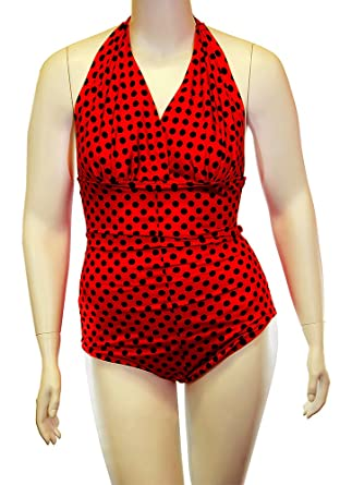 9b87085e496 Cross-Dress Transgender Swimwear, Black Polka Dot One Piece with Gaff and  Breast Form