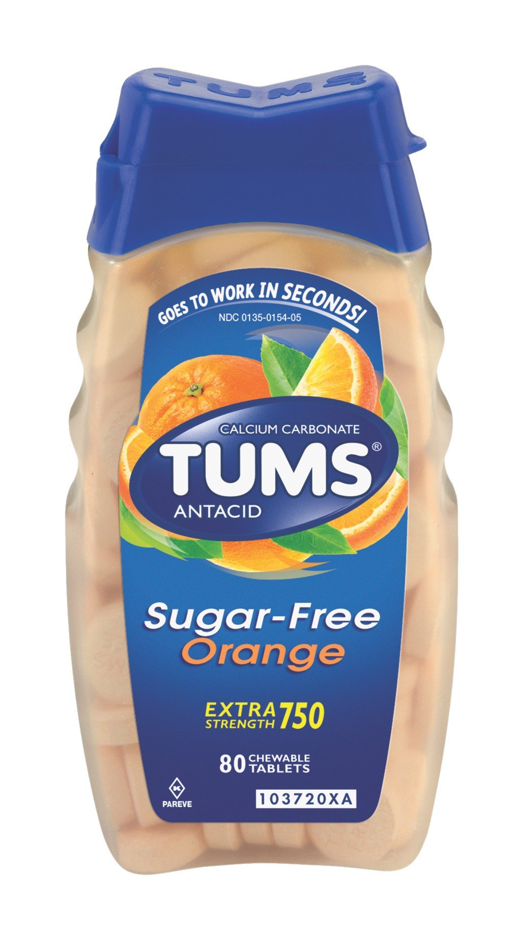 Tums Antacid Chewable Tablets, Extra Strength, Sugar free, Orange, 80-Count Bottles (Pack of 4) by TUMS