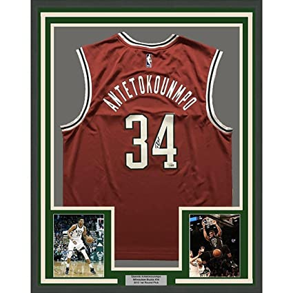 new product 5ffcc e2351 Giannis Antetokounmpo Autographed Jersey - FRAMED 33x42 Red ...