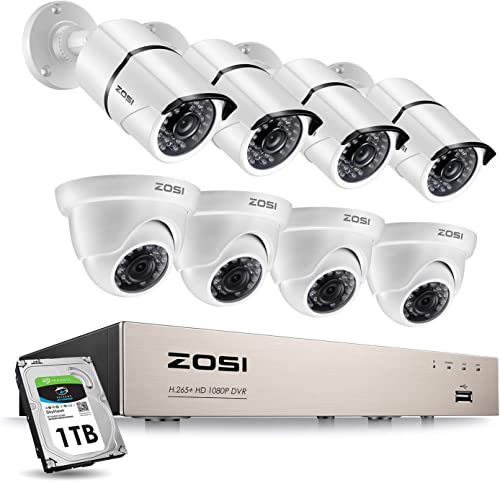 ZOSI 8CH Security Camera System with 1TB Hard Drive H.265 8Channel HD-TVI Full 1080P HD Video DVR Recorder and 8 2.0MP 1080P Weatherproof Bullet and Dome CCTV Cameras with 100ft 65ft Night Vision