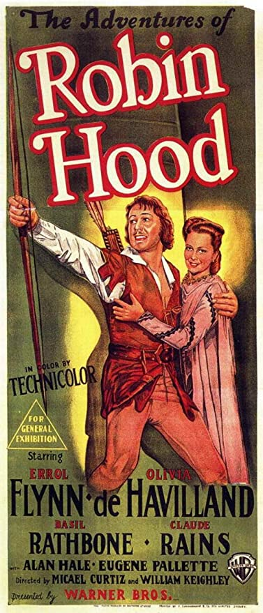 Wall art. Adventures of Robin Hood Vintage movie advert Reproduction poster