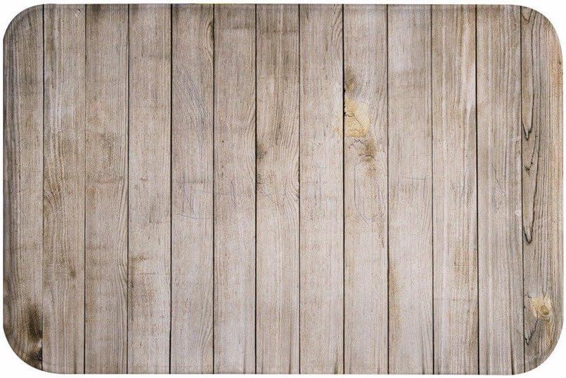 A.Monamour Luz Marrón Verticales Tablones Piso Textura De Madera Antibacteriano Microfibra Franela Lavable Alfombras De Baño Entradas Callejuelas Interiores Alfombras De La Puerta Delantera para Casa