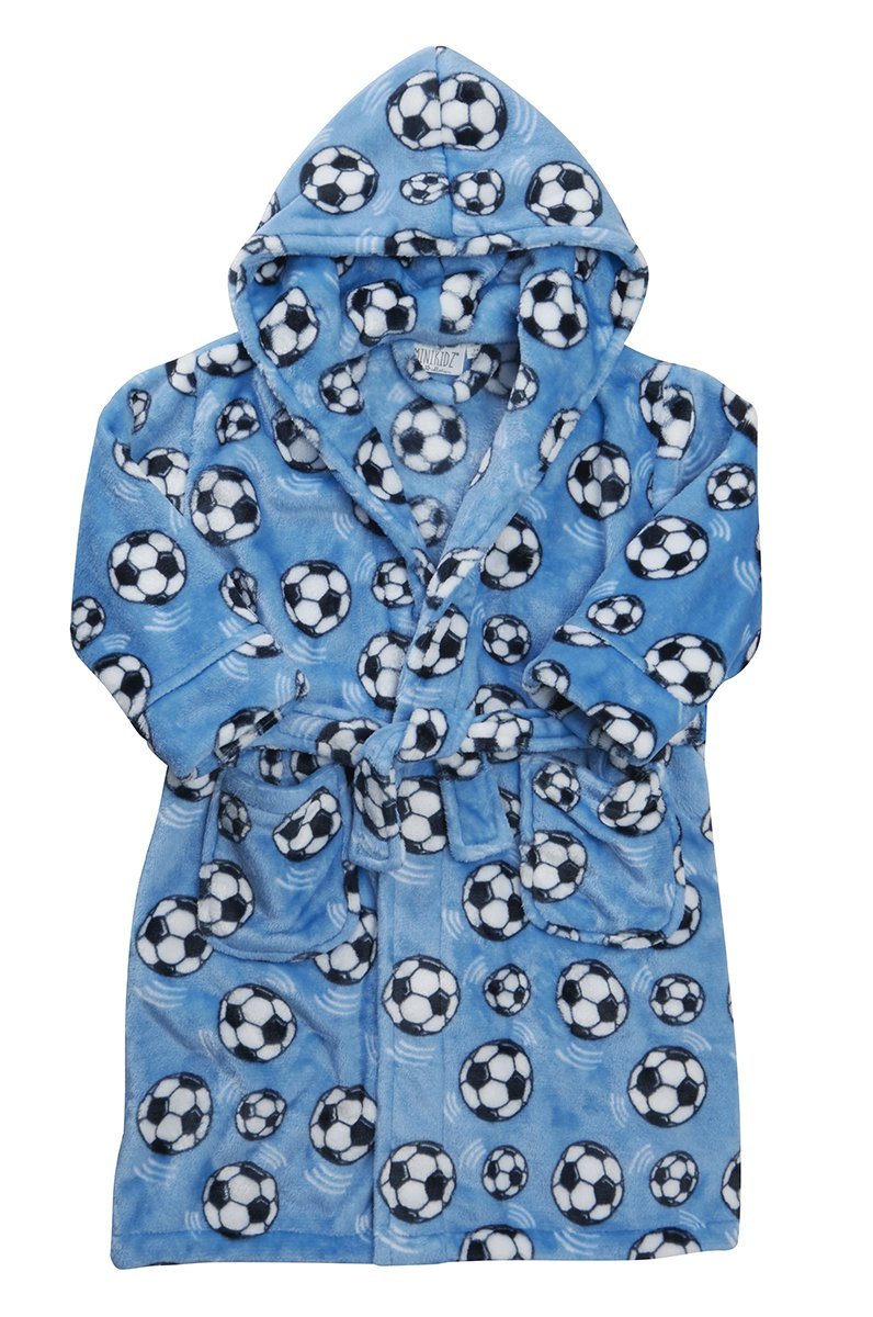 Childrens Boys Kids Dressing Robe Gown Flannel Fleece Hooded Nightwear Football MiniKidz