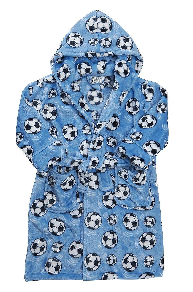 a8e4aac72de1 Childrens Boys Kids Dressing Robe Gown Flannel Fleece Hooded ...
