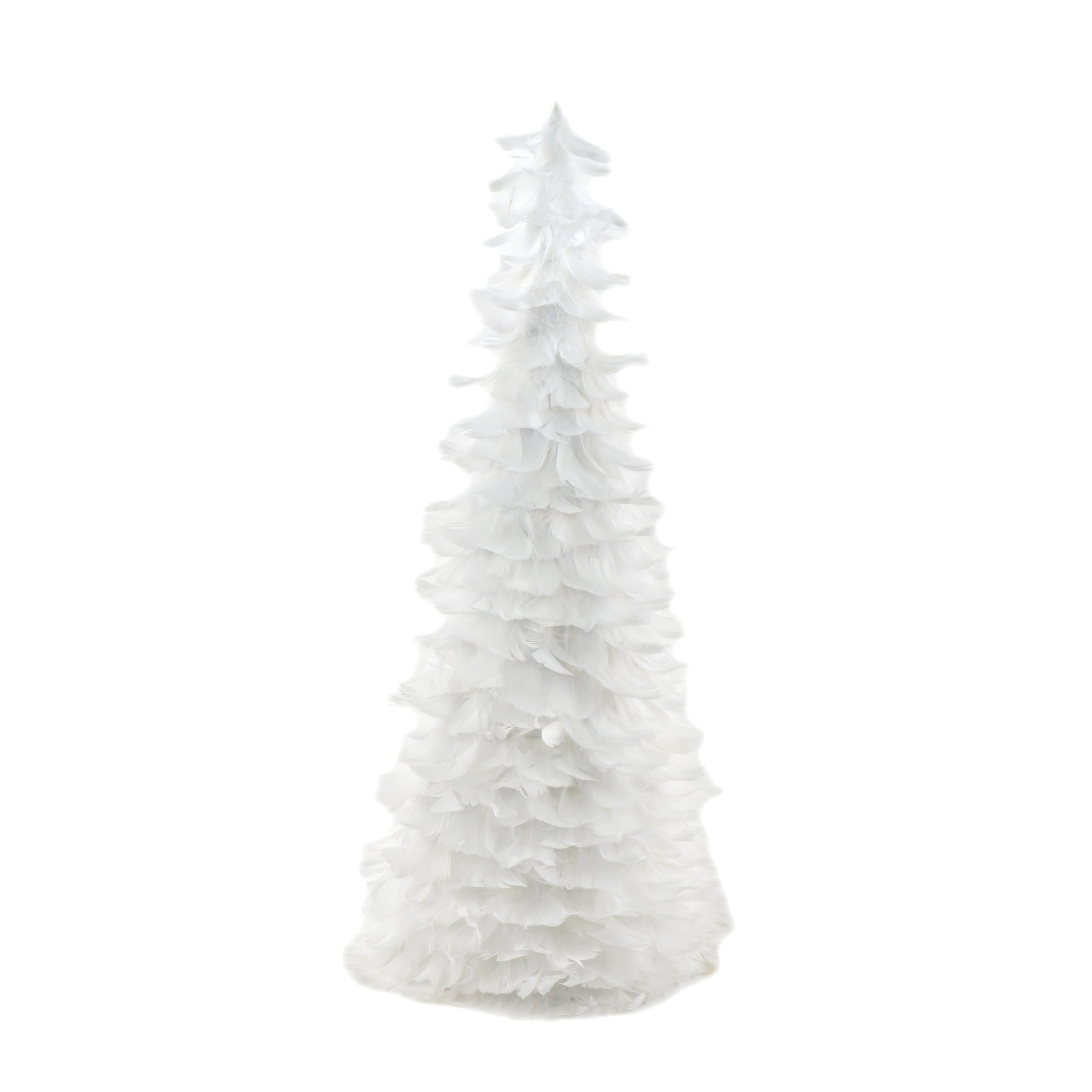 Zucker Goose Coquille Feather Christmas Tree 24'' - White