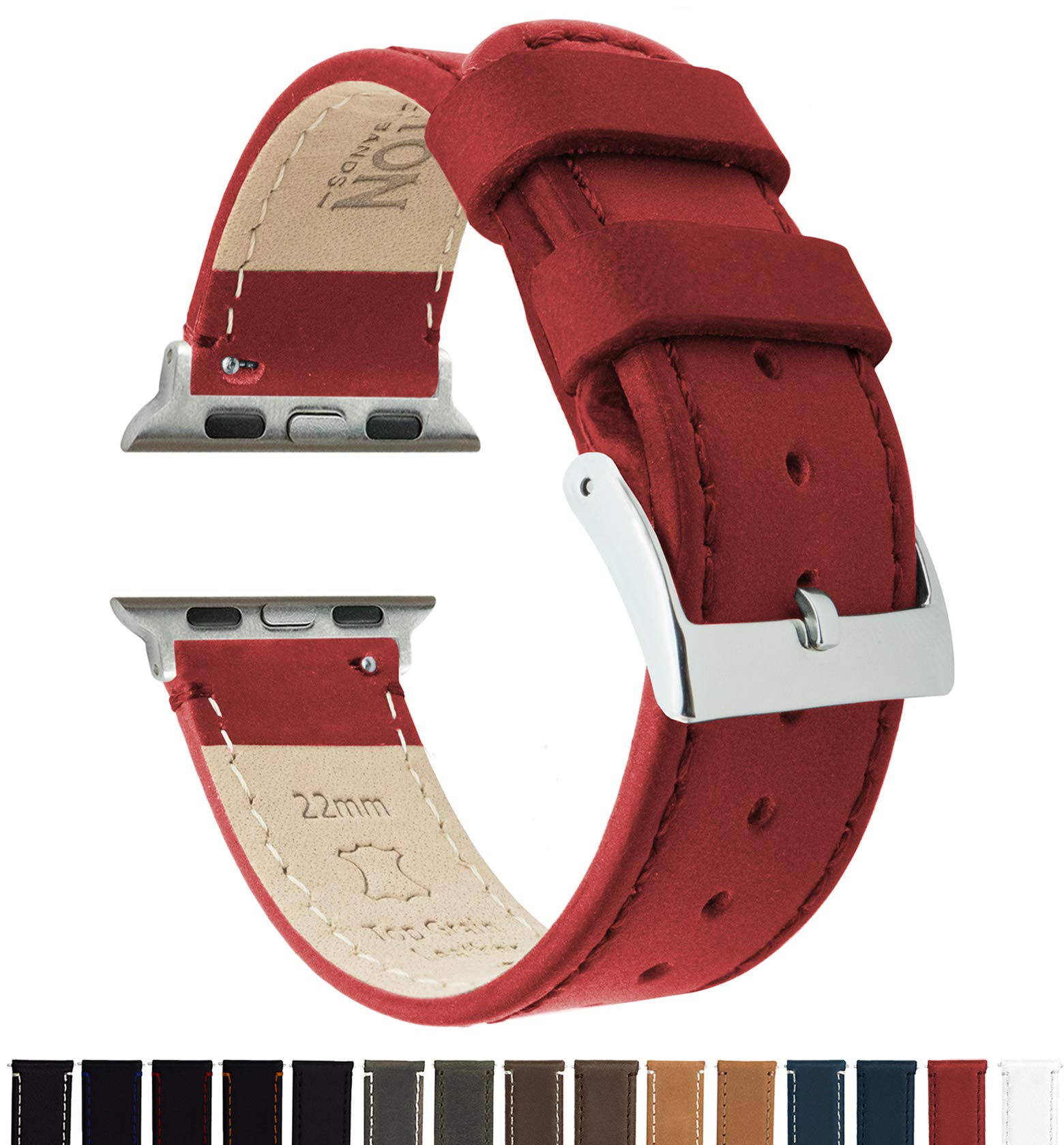 Barton Leather Watch Bands for 38mm & 42mm Apple Watch - Crimson Red 38mm